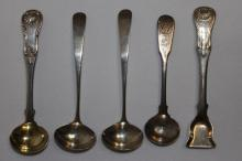 Five Various Scottish Sterling Silver Condiment