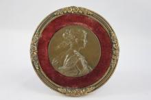 Victorian Bronze Portrait Medallion,