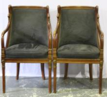 Pair of Mahogany Empire Style Chairs,