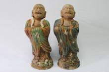 Pair of Chinese Pottery Arhat Figures,