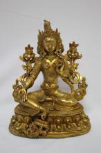 Gilt Bronze Figure of Tara,