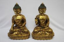 Pair of Gilt Bronze Buddhas,