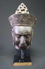 Khmer Bronze Buddha Head on Stand,