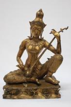 Thai Gilt Figure of Musician,