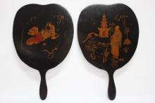 Pair of Chinese Lacquered Face Screens,