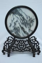 Chinese Circular Marble Table Screen,