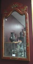 Chinese Red Lacquer Wall Mirror,