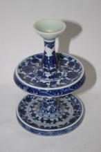 Fine Chinese Blue and White Candlestick,