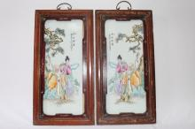 Pair of Chinese Painted Porcelain Panels,