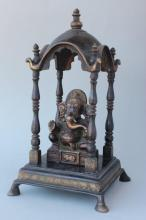 Indian Bronze Ganesha and Table Shrine,