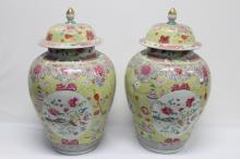 Pair of Large Chinese Porcelain Jars and Covers,