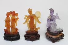 Three Chinese Carved Figures,