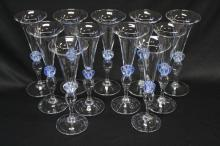 Eleven Kosta Boda Crystal Wine Glasses,