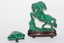 Two Chinese Malachite Animal Carvings,