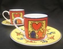 Keith Haring (1958 - 1990) After:  2 x  Espresso Cups (Colour)