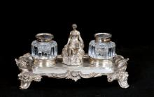VICTORIAN SILVER & MOLDED GLASS DOUBLE INKSTAND