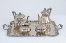 FOUR-PIECE .800 SILVER TEA & COFFEE SERVICE WITH TRAY
