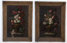 PAIR OF STILL LIFE PAINTINGS WITH FLOWERING URNS