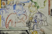 CHARLES-GEORGE DUFRESNES  (Millemont 1876-1938 La Seyne-sur-Mer) « La halte des cavaliers, la libération de Noyon en 1917 »