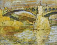 HANS JOSEF WEBER-TYROL (Schwaz 1874-1957 Merano Appiano Tyrol) Pont sur le fleuve
