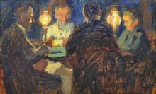 CHARLES COURTNEY CURRAN  (Hartford 1861-1942 New-York) « La partie de cartes »