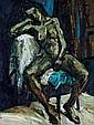 SEAN O'BRIEN (XX-XXIème) Nu, huile sur panneau d'isorel. Titré et signé au dos