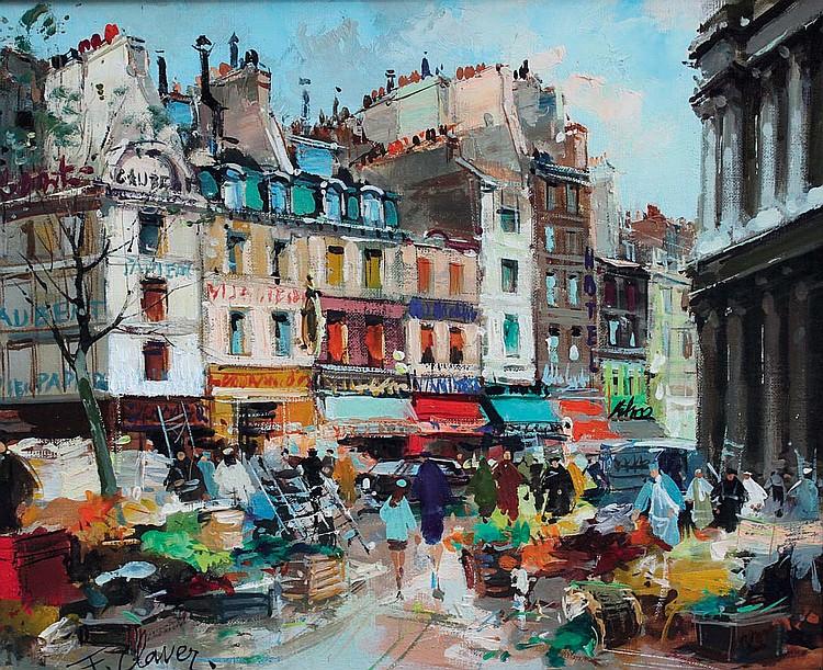 FERNAND CLAVER (1918-c.1961) Paris, les Halles. Huile sur toile signée en bas à gauche
