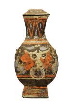 IMPORTANT VASE COUVERT JARRE  « FANGHU »  EPOQUE DYNASTIE HAN (206 BC-220 AD)