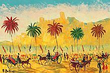 EMMANUEL BELLINI (1904-1989)  Cannes à la Belle-Epoque  Huile sur toile signée en bas à gauche Contresigné et titré au dos. Dimensions : 39 x 55 cm
