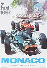 MICKAËL TURNER (XXème)  25ème Grand Prix de Monaco, 1967  Affiche lithographique originale couleur Edition Jacques Ramel, Nice Dimensions : 60 x 40 cm