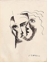 OSSIP ZADKINE (1890-1967)  Le baiser, ca.1957-1958  Dessin à l'encre sur papier signé en bas à droite Dimensions : 24,6 x 18,6 cm