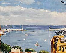 VUE DU PORT DE MONACO 1951    Huile sur carton pochade, portant une signature illisible en haut à droite, situé à Monte-Carlo et daté 1951. Dimensions : 50 x 61 cm