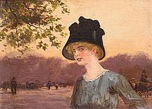 PETER THOLEN (XXème)  Elégante au chapeau  Huile sur panneau signé Dimensions : 11 x 16 cm