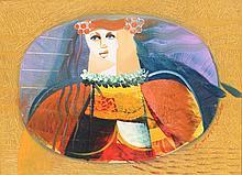 VITTORIO MARIA DI CARLO (1939)  Figura  Huile sur toile signée à droite et contresignée au dos Dimensions : 30 x 40 cm