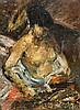 ISAAC LAZARUS ISRAEL (1865-1934)  Nu à la lecture  Huile sur toile signée en bas à droite Dimensions : 45 x 33 cm