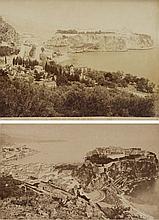 VUES ANCIENNES DU ROCHER DE MONACO ca.1875    Suite de 2 photos d'époque, tirage albuminé Dimensions : 21 x 27 et 10 x 14 cm