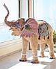 MICHEL LOEB (1930) L'Eléphanteau de parade Sculpture unique en résine, figurant un éléphanteau en taille réelle, peint toute face à main d'un décor de fleurs, de pointillés, d'animaux avec collage de coquillages et de coccinelles. Signé Michel Loeb