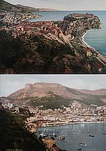 VUE ANCIENNES DU PORT DE MONACO Lot de 2 photochromes originaux d'époque, comprenant une vue du Rocher vers 1889 et une vue de Port Hercule avant la construction des digues vers 1880 Pliure dans le ciel et petite déchirure pour la première.