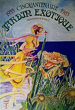 CINQUANTENAIRE DU JARDIN EXOTIQUE 1933-1983    Affiche lithographique originale couleur. Illustration par JP Vergez. Imprimerie Testa Monaco Dimensions : 60 x 40 cm