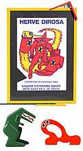 HERVE & RICHARD (Bruddy) DI ROSA (act.1980) Affiche, Le Taureau et Le dinosaure Lot comprenant une affiche lithographique et son cadre sculpture, créés en l'occasion de l'exposition Dirosa en 1984 à la Galerie Catherine Issert à Saint-Paul de Vence,