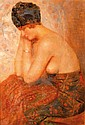 GUSTAVE MAX STEVENS (1871-1946)  L'élégante au turban   Huile sur toile signée G.M. Stevens en bas à droite  Dimensions : 55 x 38 cm    GUSTAVE MAX STEVENS (1871-1946)  OIL ON CANVAS SIGNED G.M STEVENS ON THE BOTTOM RIGHT
