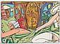 MAURO BERGONZOLI (Milan 1965)  Le massage de Casanova  Huile sur toile signée en bas à droite et monogramme en bas à gauche.  Dimensions : 60 x 80 cm