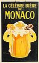 GASTON MARECHAUX (XIX-XX)  La célèbre bière de Monaco  Très rare affiche originale sur carton   Edition : Imprimerie Isidore Lang & Cie, 55 rue St. Placide, Paris  Dimensions : 47 x 30 cm