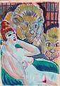 IGNASI VIDAL (1904-1988)  Nue aux Lions  Aquarelle sur papier signée en bas à droite  Dimensions : 33 x 23 cm
