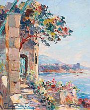 HENRI EDOUARD BARGIN (1906-1980) Vue du Rocher depuis Cap d'Ail