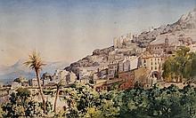 VINCENT COURDOUAN (1810-1893) Vue du Vieux Village de Roquebrune-Cap-Martin