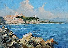GASTON DE BIEMME (19ème-20ème) Vue du Rocher et du Palais de Monaco