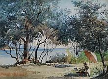 HENRI JOSEPH HARPIGNIES (1819-1916), Attribué Le peintre en bord de mer