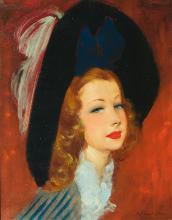 SUIVEUR DE DOMERGUE (France 20ème) Portrait d'élégante