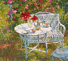VICTOR EFIMENKO (Ukraine 1952)  Le thé au jardin, 2004